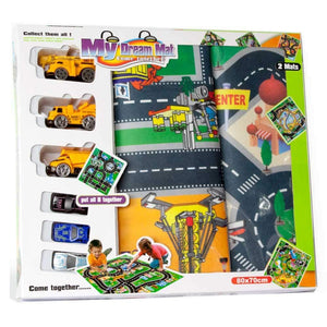 Kids 2 Pack Road Playmat with 6 Vehicles