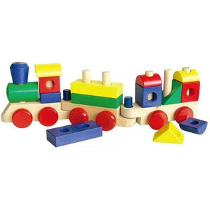 Large Wooden Stacking Train with Blocks