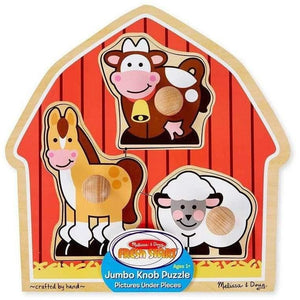 Melissa and Doug Barn Animals Knob Puzzle - 3 Piece