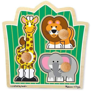 Melissa and Doug Jungle Friends Knob Puzzle - 3 Piece