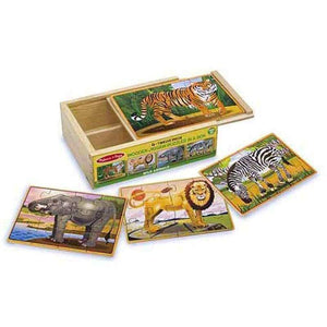 Melissa and Doug Wild Animals Puzzle in a Box - 4 x 12 Piece Puzzles
