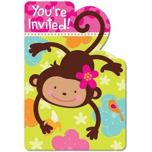 Monkey Fun Party Invitations with Envelopes - 8 Pack