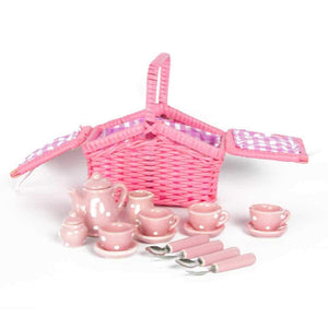 Porcelain Kids Tea Set in Picnic Basket