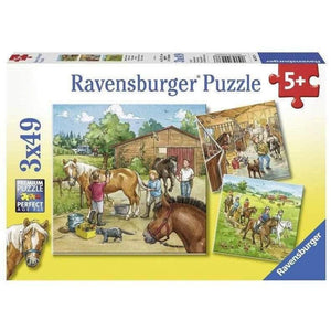 Ravensburger A Day with Horses Puzzle - 3 x 49 Piece