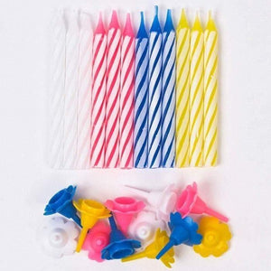 Striped Birthday Candles - Pack of 12