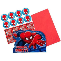 Ultimate Spiderman Party Invitations - Pack of 8