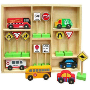 Wooden Car Set with Traffic Signs