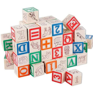 Wooden Educational Blocks - 48 Pieces in Storage Box