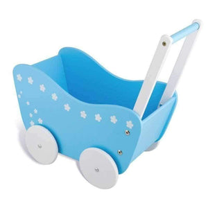 Wooden Wagon Dolls Pram in Blue