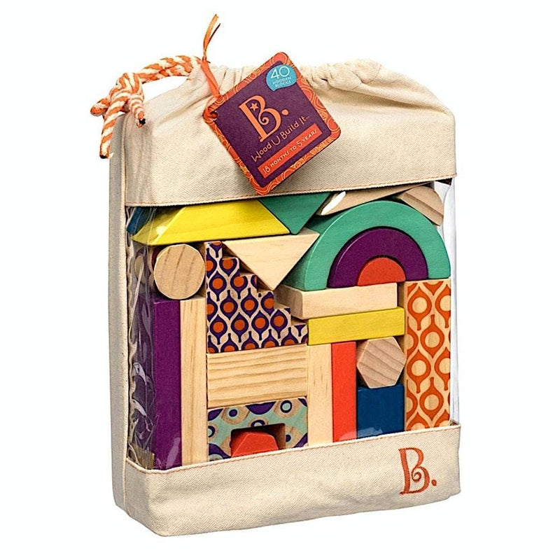 Toy Universe Brands B 40 Pieces Wooden Blocks in a Bag - Buy Online