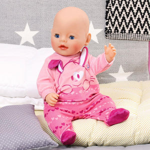 Clothes For 17inch Zaph baby born doll. Handmade 1st dress, pink spot & white pants. 2nd blue spot dress & white pants, 3rd. dress is black floral & white pants 4th dress is blue spot with crochet lace trim & white pants Velcro back opening for easy dressing.