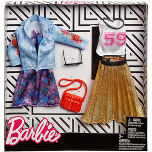 Barbie Fashion Trucker Jacket & Pleated Skirt Fashion 2 Pack