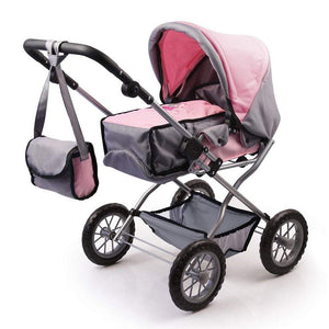 Bayer Combi Grande Doll Pram - Pink and Grey