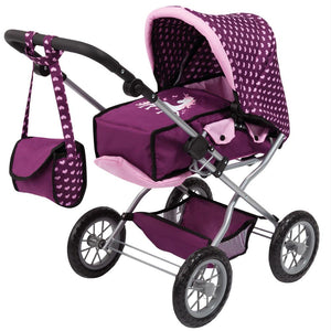 Bayer Combi Grande Doll Pram - Unicorn with Hearts