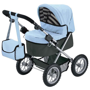 Bayer Trendy Royale 68cm Powder Blue and Charcoal Doll Pram