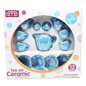 Ceramic Doll Tea Set with 13 Pieces in Blue