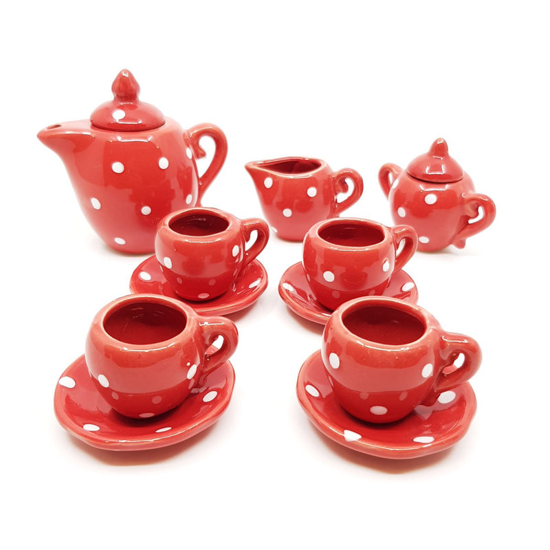 Buy Ceramic Doll Tea Set with 13 Pieces in Red online at Toy Universe