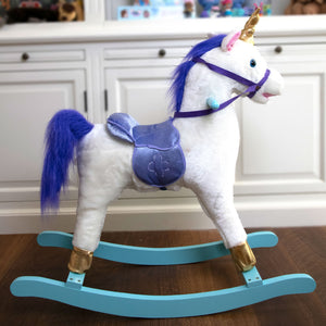Lilac Rocking Horse Unicorn Ride On with Sound and Movement