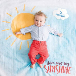 Lulujo You Are My Sunshine Baby's First Year Blanket and Cards Set