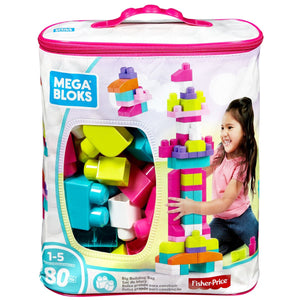 Mega Bloks Big Building Bag - 80 Pieces - Pink