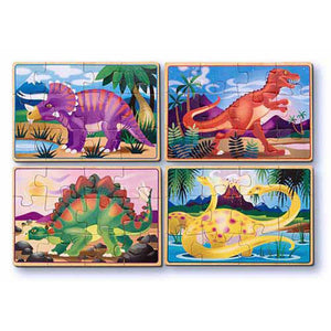 Melissa and Doug Dinosaur Puzzle in a Box - 4 x 12 Piece Puzzles