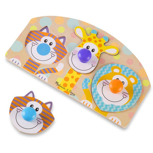 Melissa and Doug First Play Wooden Jumbo Knob Safari Animal Puzzle