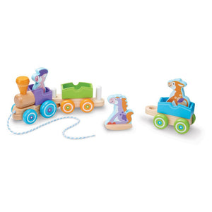 Melissa and Doug First Play Wooden Rocking Farm Animals Pull Train