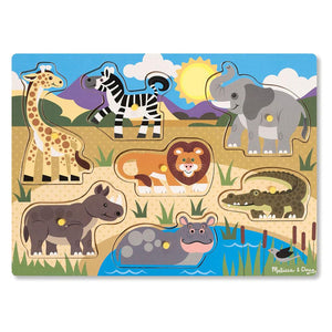 Melissa and Doug Safari Peg Puzzle - 7 Piece