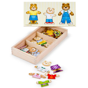 Melissa and Doug Wooden Bear Family Dress Up Puzzle