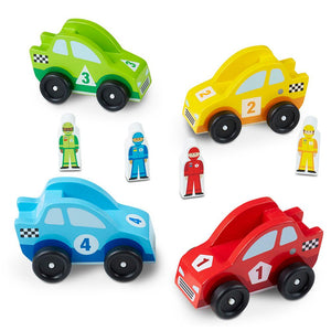 Melissa and Doug Wooden Race Car Vehicle Set
