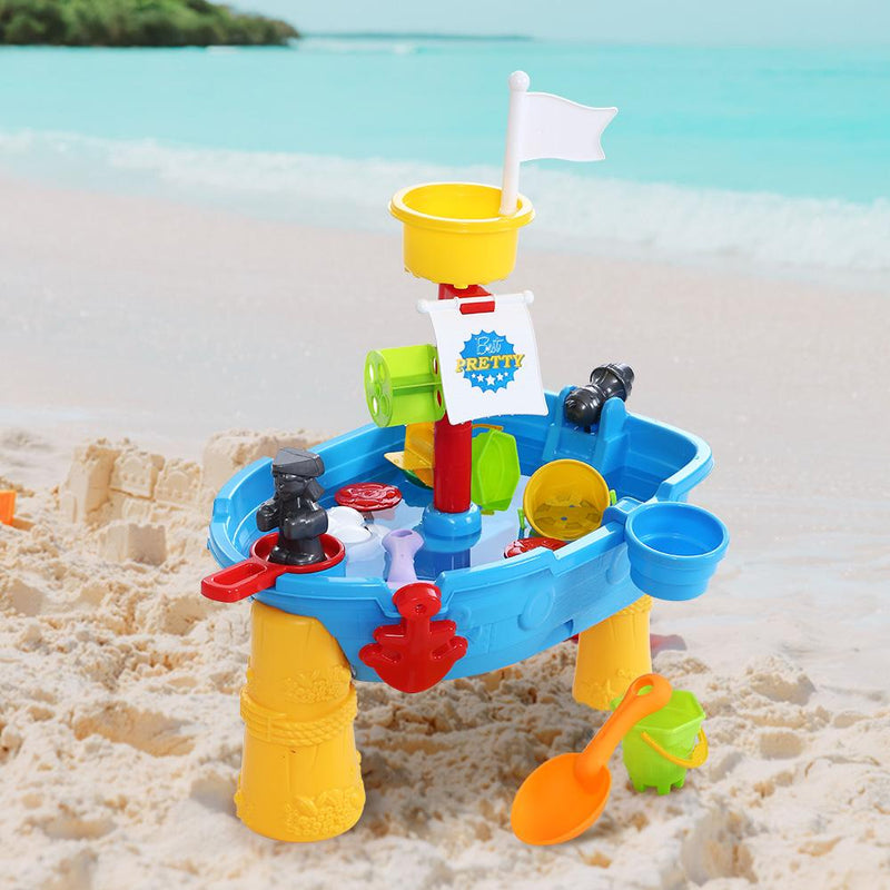Fun Stuff Keezi Kids Beach Sand and Water Pirate Ship Sandpit Table - Buy Online