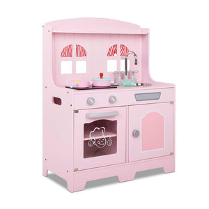 Wooden Play Kitchen Set with 8 Accessories - Pink