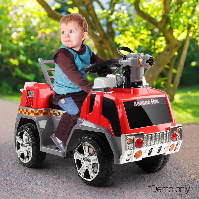 Fun Stuff Kids Electric Ride On Fire Truck in Red & Grey | Stay At Home Mum