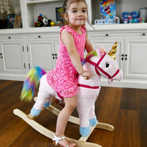 Rainbow Rocking Horse Unicorn Ride On with Sound and Movement