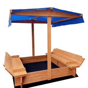 Keezi Wooden Outdoor Sand Pit with Canopy - Natural Wood