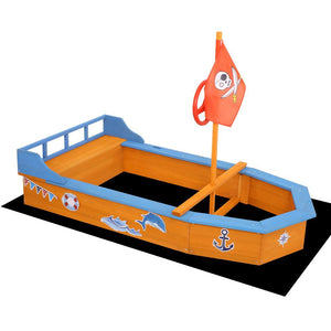 Boat-Shaped Sand Pit for Kids with Flag and Steering Wheel