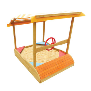 Backyard Captain Boat Sand Pit with Canopy and Steering Wheel
