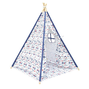 Kids Teepee Play Tent with Storage Bag - Nautical Design