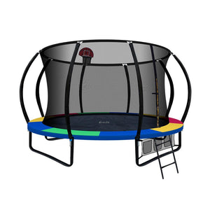 Everfit 12ft Spring Trampoline With Basketball Hoop - Rainbow