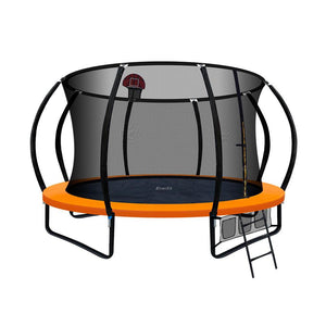 Everfit 12ft Spring Trampoline With Basketball Hoop - Orange