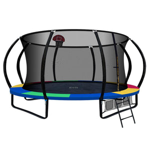 Everfit 14ft Spring Trampoline With Basketball Hoop - Rainbow