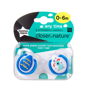 Tommee Tippee Any Time Soothers 2 Pack - Boy - 0 to 6 months