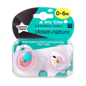 Tommee Tippee Any Time Soother 2 Pack - Girl - 0 to 6 Months