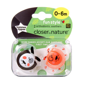Tommee Tippee Fun Soother 2 Pack - Neutral - 0 to 6 Months