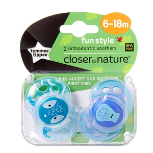 Tommee Tippee Fun Soothers - Boy - 6 to 18 Months