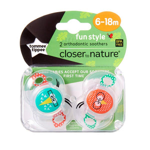 Tommee Tippee Fun Soother 2 Pack - Neutral - 6 to 18 Months
