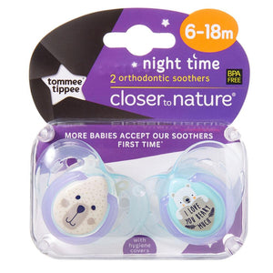 Tommee Tippee Night Soother 2 Pack - Girl - 6 to 18 Months