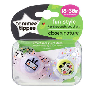 Tommee Tippee Closer to Nature  Fun Time Soother 2 Pack - Neutral - 18 to 36 Months