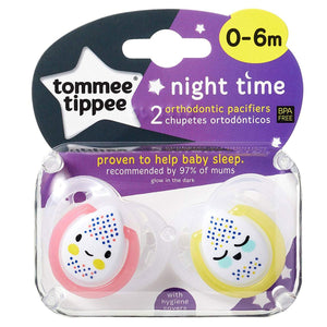 Tommee Tippee Night Soother 2 Pack - Neutral - 0 to 6 Months