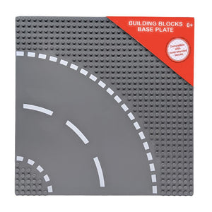 Building Blocks Grey Base Plate with Road Curve - LEGO Compatible